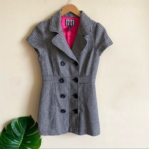 Y2K Houndstooth Double Breasted Pea Coat Jacket S